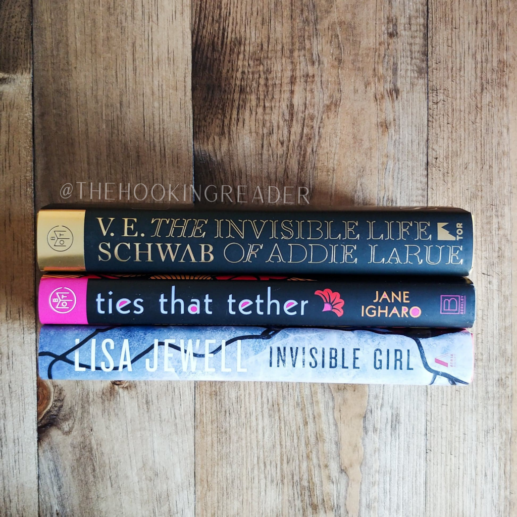 book of the month subscription, book stack, ties that tether, invisible girl, the invisible life of addie larue