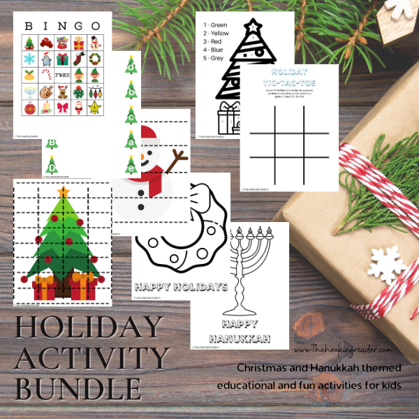 holiday activity bundle, christmas coloring pages, holiday activities for kids