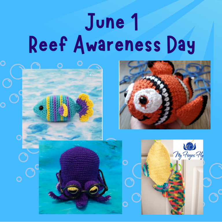 June 1 Reef Awareness Day Fish and Octopus crochet patterns