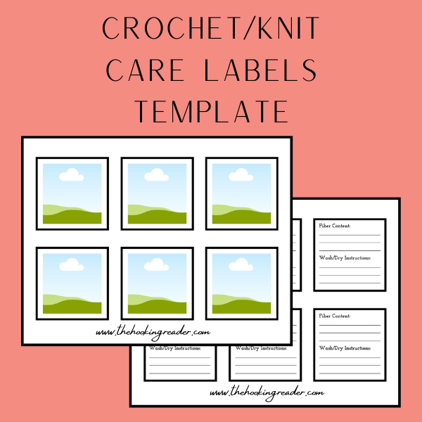 crochet and knit care labels canva template